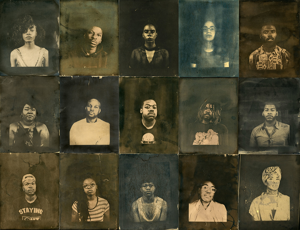 "Derrick Woods-Morrow - 14_Darryl_Terrell_ © #Project20's Group shot, Cyanotype, Black Tea, Black Coffee, Chicago, 2017)."" 2019If you kick us out of our hood, I put us on your white walls"