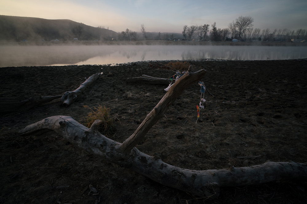 Willis_3_ Lakota Tobacco Prayer Ties along the Cannonball River in the Morning Mist