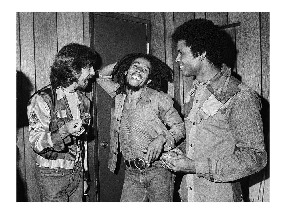 George Harrison meets Bob Marley and Marley's manager, Don Taylor, , Don Tay;or, Roxy, 1975backstage at the Roxy in W. Hollywood, 1975