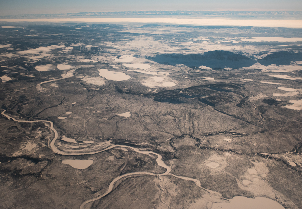 An aerial view near Fort Good Hope, Northwest Territories - a landscape that looks empty but is the source of resources and food for people who live nearby.
