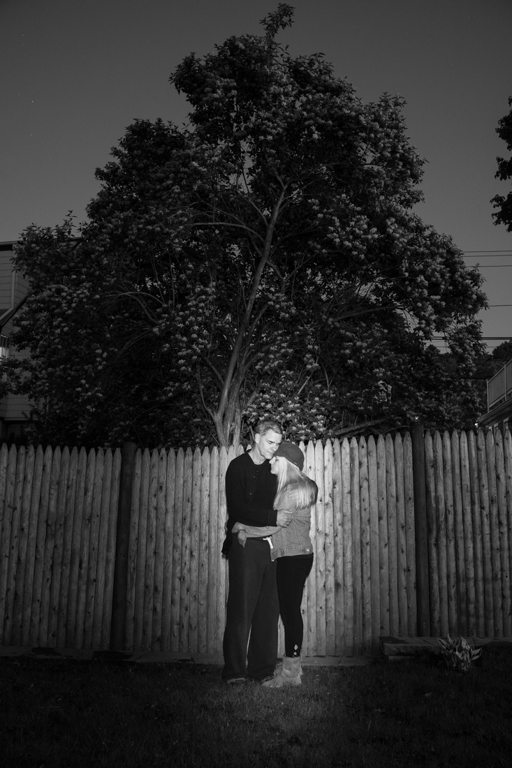 Rob (l) and Sandi (r) embraces in their backyard in Arlington, MA, May 20, 2020.