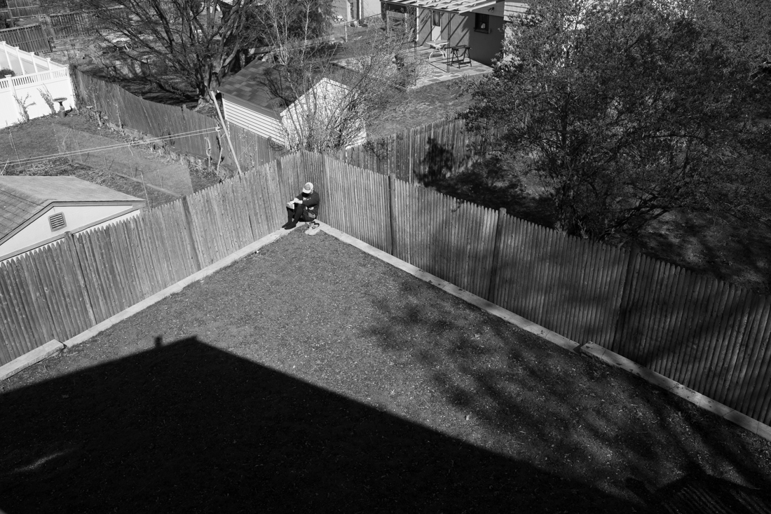 Self Portrait of Billy Hickey, 29, in the Hickey's backyard on April 25,2020, Arlington, MA.