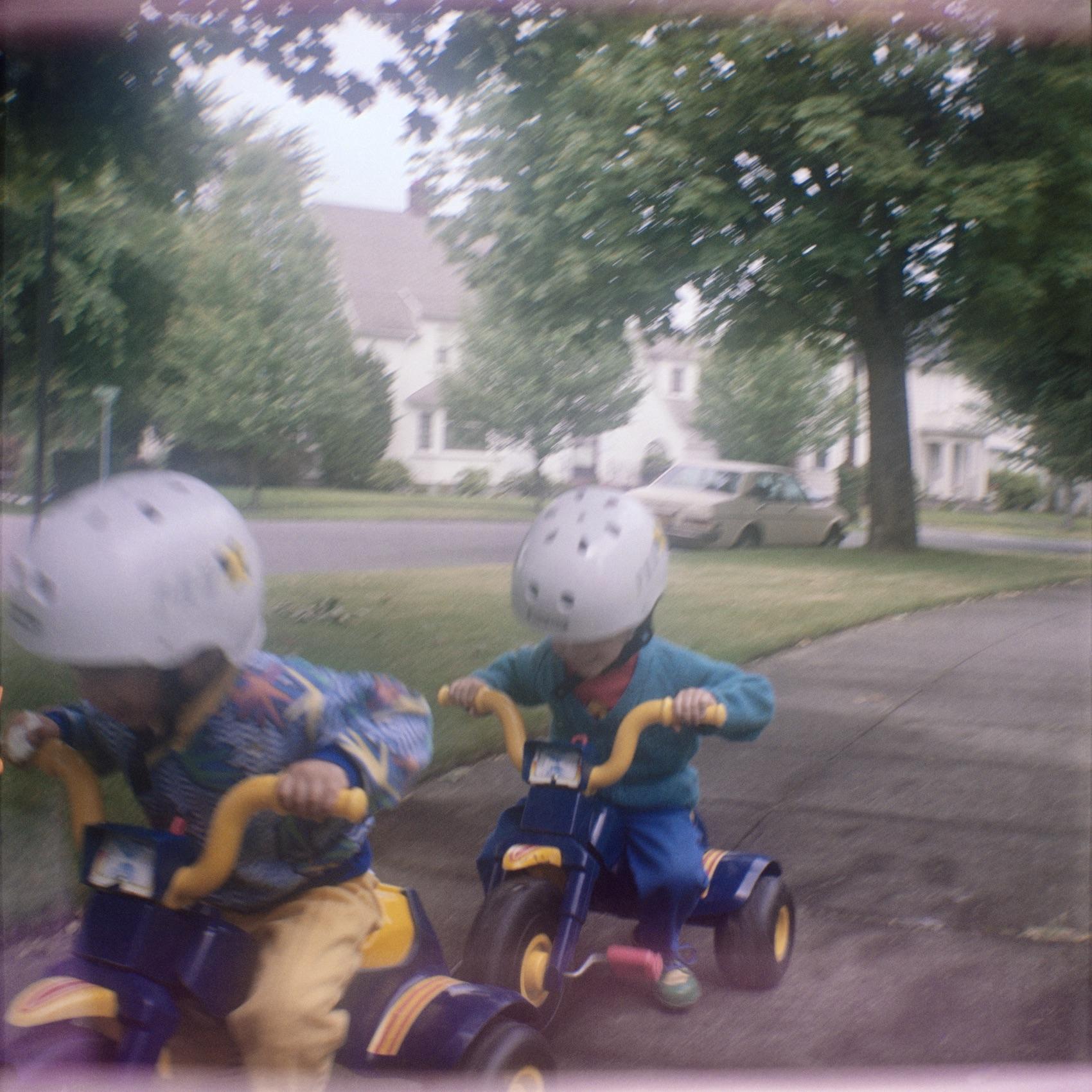 05_Ben and Daniel on their Trikes, 1989