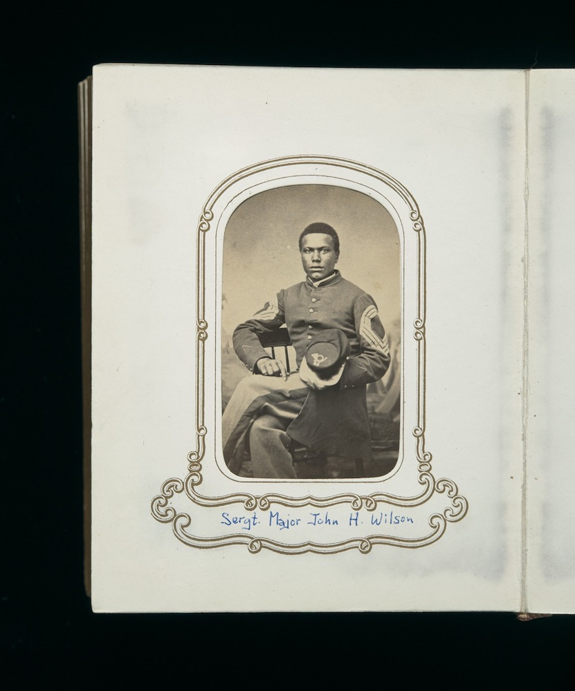 Carte de visite album of men and officers of the Mass. 54th Regiment, assembled by John Ritchie, regimental quartermaster; many photos are signed on the back