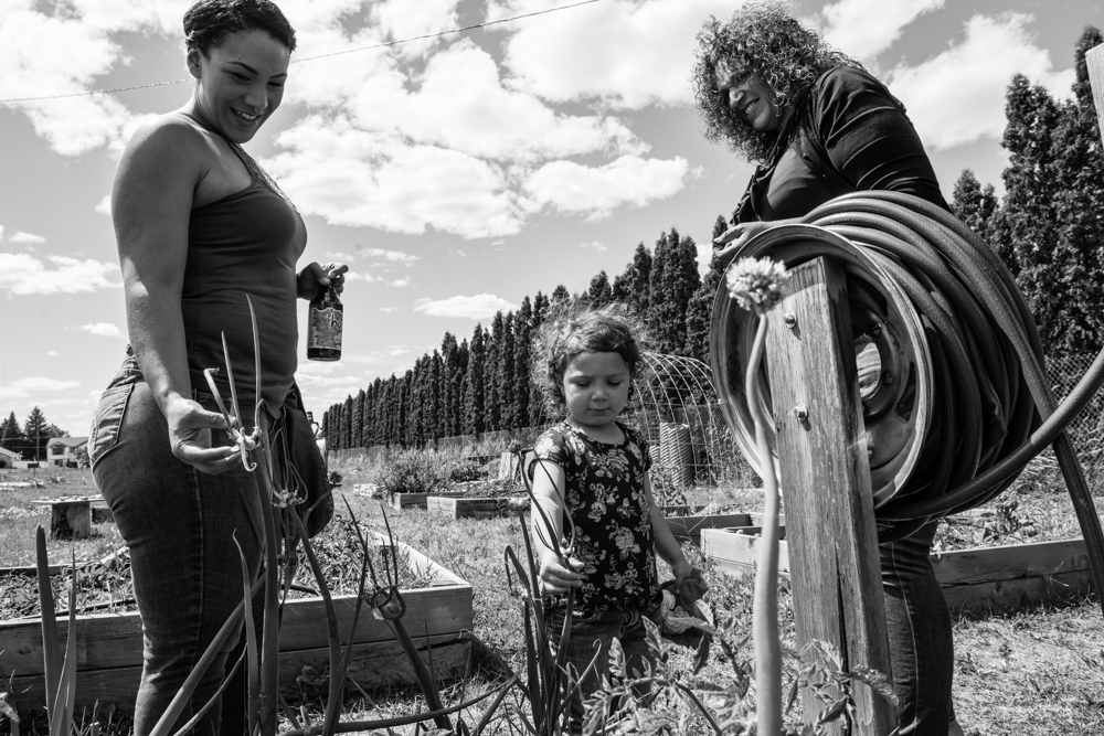 Carmen of Yakima with her daughter and granddaughter at the community garden where they supplement their food budget. Even with three jobs, Carmen must also resort to going to food banks to ensure that she does not miss an LFO payment.