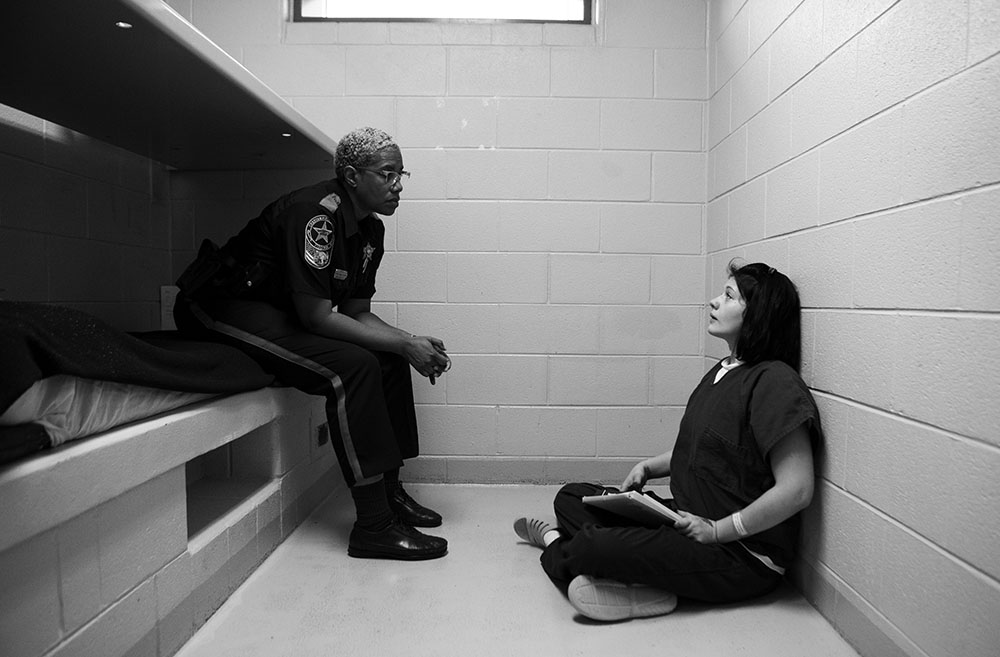 """Deputy Celeste Walters talks with Stephanie Crowder about the problems she has seen with her behavior in HARP. Stephanie has resisted her """"pull-ups"""" or consequences like cleaning the cell block. """"It's not a punishment. You need to get your mind away from what you've normally been doing,"""" Deputy Walters said."""