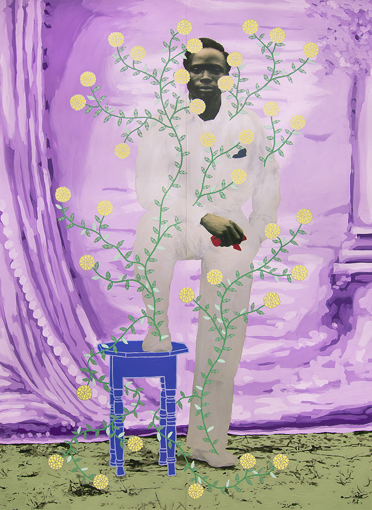 3_Patton_Untitled (Silver Man with Yellow Dahlias)