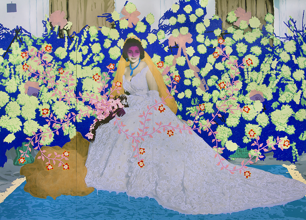 8_Patton_Untitled (Blue Bride with Gold Veil and Green Flowers)