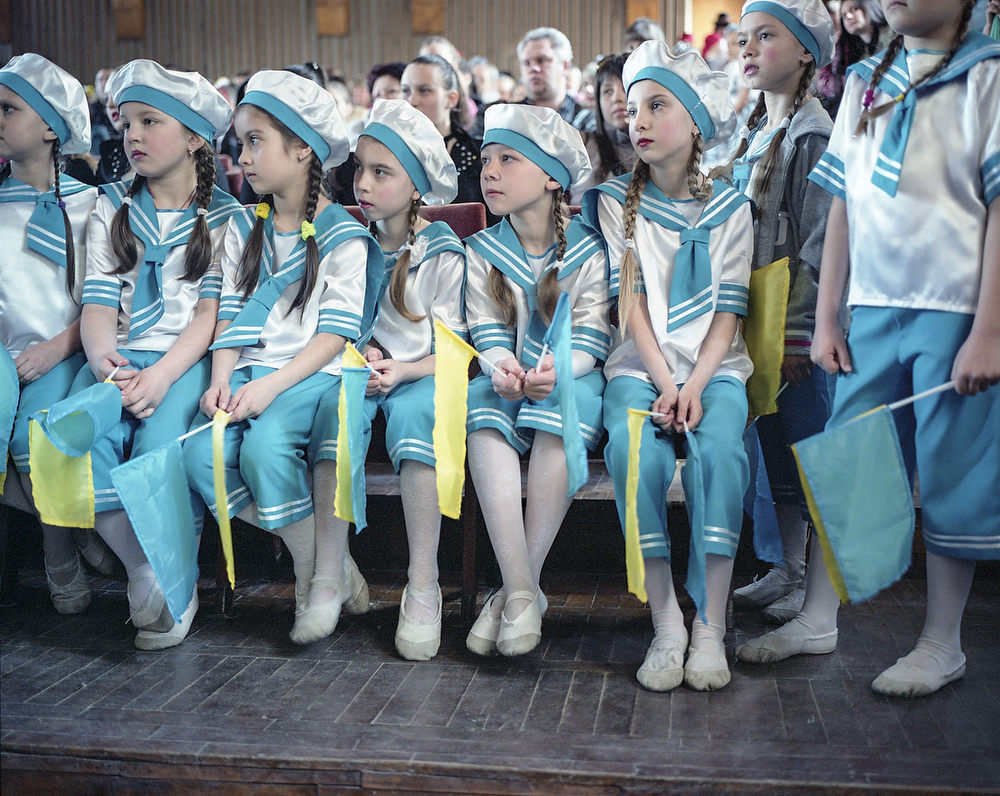 April 2015, Slavyansk  Competition of School Dance Groups of Slavyansk and Krematorsk . Year ago Slavyansk became a stronghold of Armed Pro-Russian Rebels  and  the war effectively started here. In July 2014 Ukrainian Army retook the town . Despite life returning to normal City is still divided in their sympathies towards Kiev and Russia. However residents are sure that they do not want to experience the war anymore.