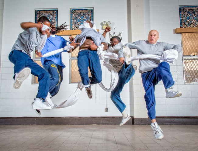 Students rehearse for a dance/theater piece, in the Protestant chapel at San Quentin State Prison. 2015