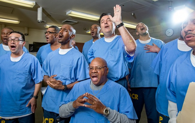 Gospel singers rehearse during an evening class at Valley State Prison. 2017
