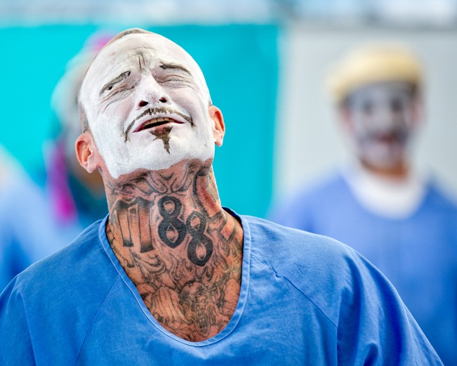 A theater student emotes, during class at Ironwood State Prison.