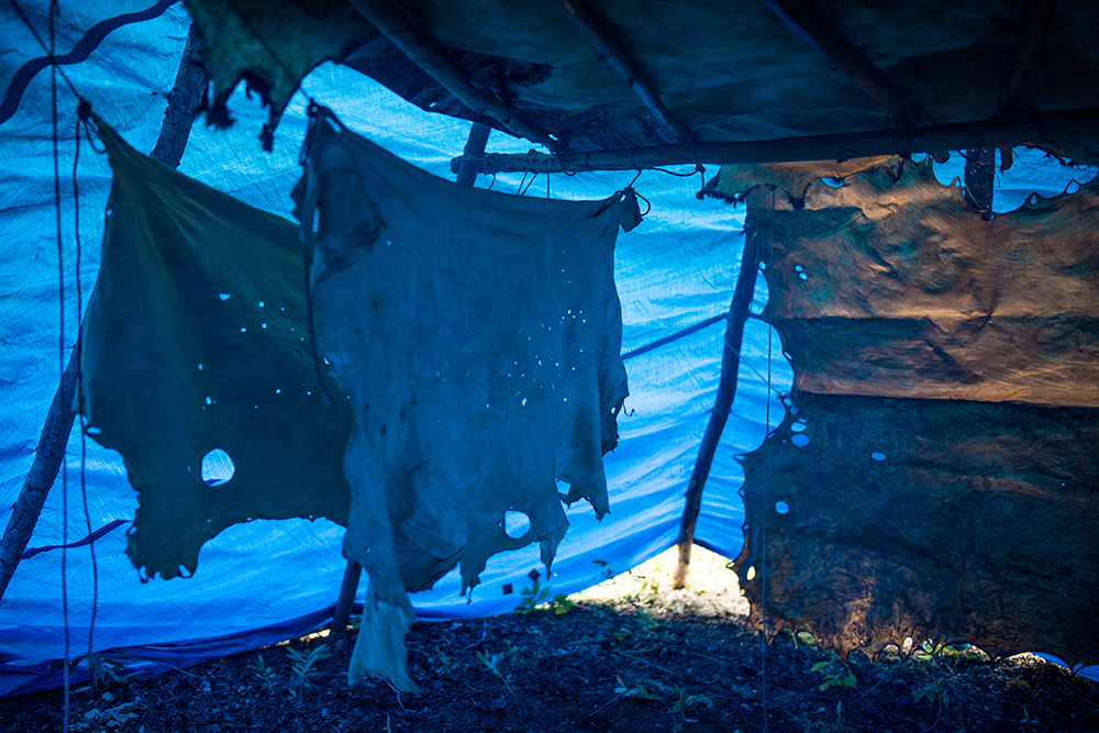 """Moose hides dry and are tanned by the smoke inside a tipi near Lı́ı́dlı̨ı̨ Kų́ę́. Moose hide tanning is a traditional way to make clothing, instruments, tools and art. Many younger people in the Northwest Territories are relearning moosehide tanning as a way to Indiginize and carry the tradition forward. """"It's more than tanning moose hide,"""" says Tania Larsson and artist and advocate for Indigneous practices. """"Just by being in the bush with other people, away from the city and making our camp and cooking on the fire and sharing knowledge, we are living our traditional life. It is very holistic, natural approach to living."""""""