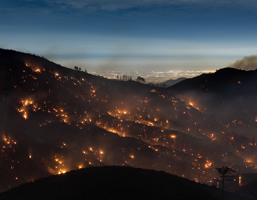the Bobcat Fire burns in the San Gabriel Mountains above Los Angeles.