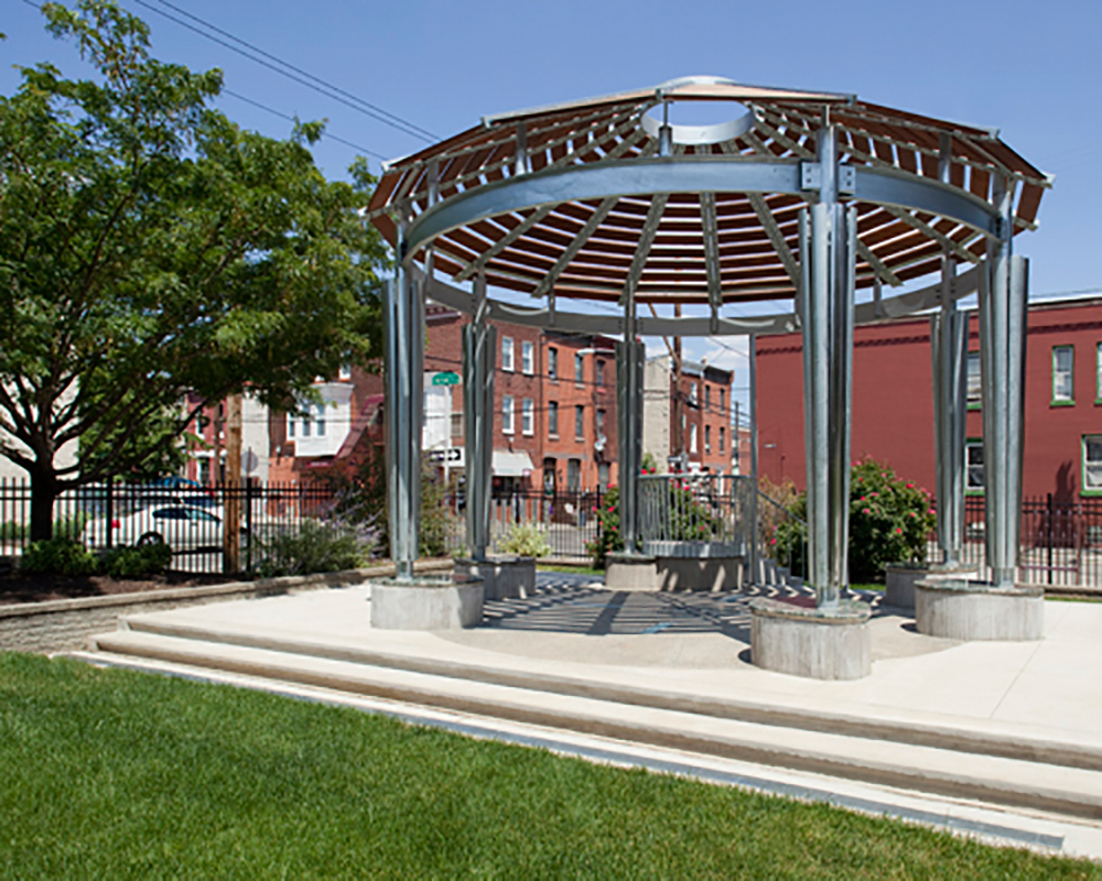 Common Ground, a public art project by John H. Stone and Lonnie Graham, located at Project H.O.M.E's St. Elizabeth's Community Center, 1845 N. 23rd St., Philadelphia, PA, sponsored by the Fairmount Park Art Association