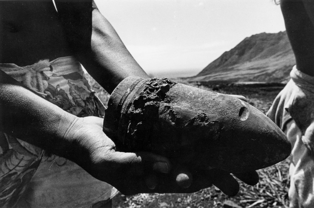 Greevy_Remnants_of_live-fire_military_practice_at_Mākua_Valley_1977_07
