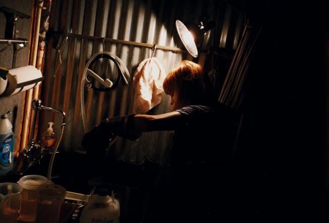 Stephanie in her darkroom